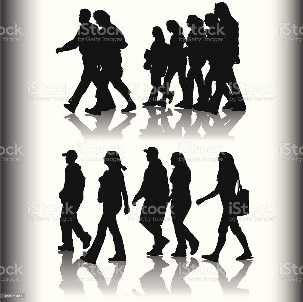 Silhouettes of varied people walking on grey background royalty-free stock vector art