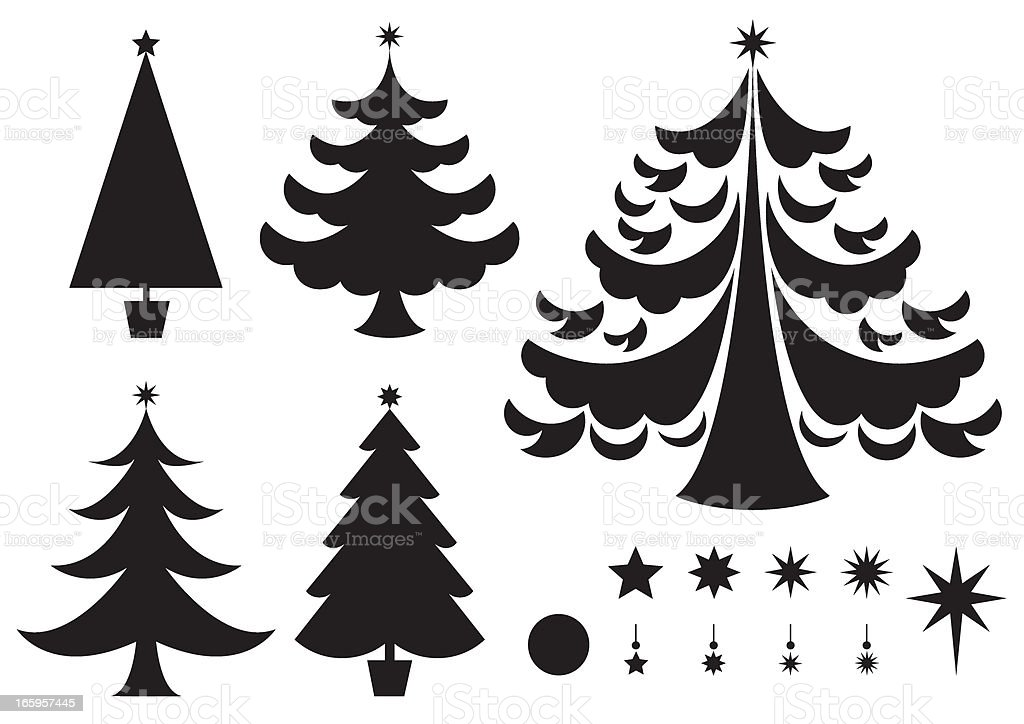 Silhouettes of Various Christmas Trees Icons vector art illustration