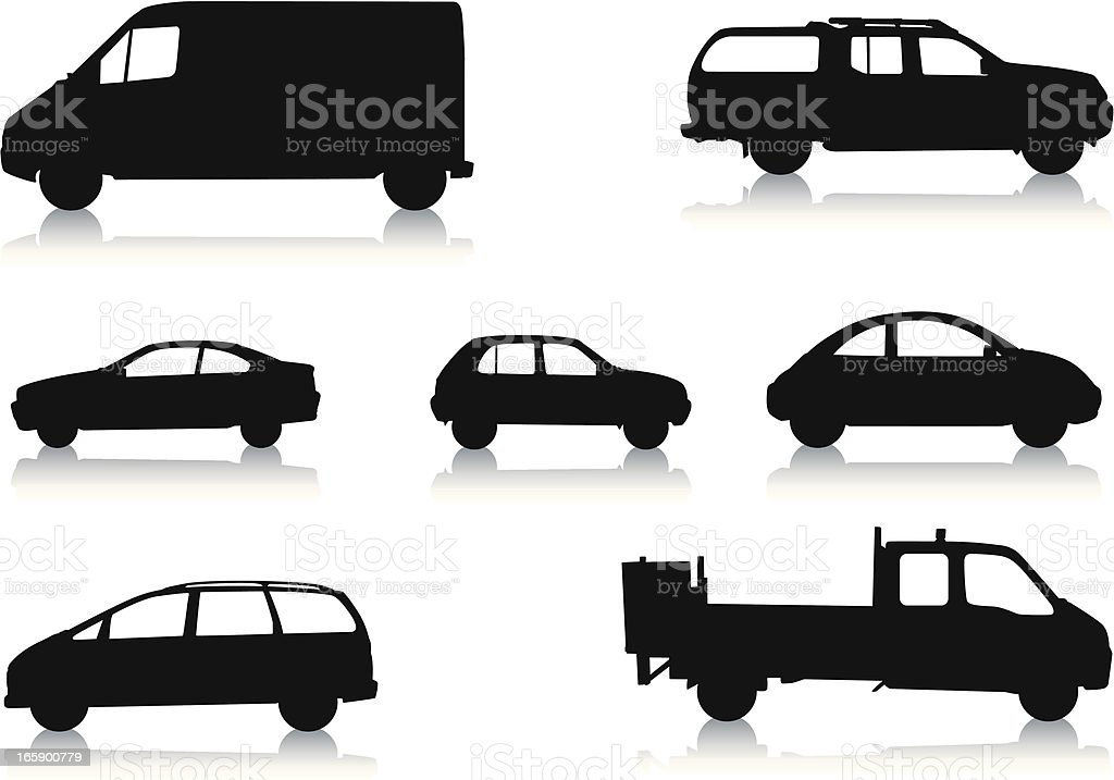 Silhouettes of Vehicles royalty-free stock vector art