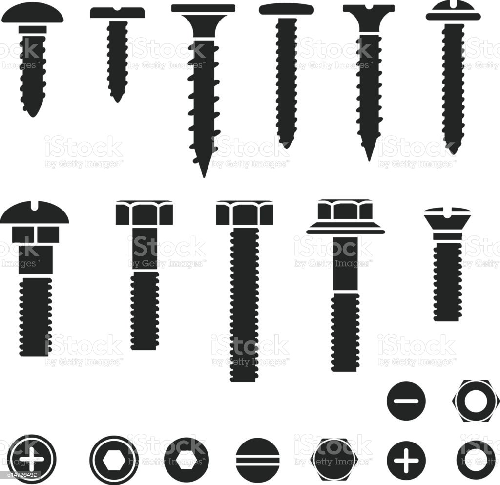 Silhouettes of wall bolts, nuts and screws vector art illustration