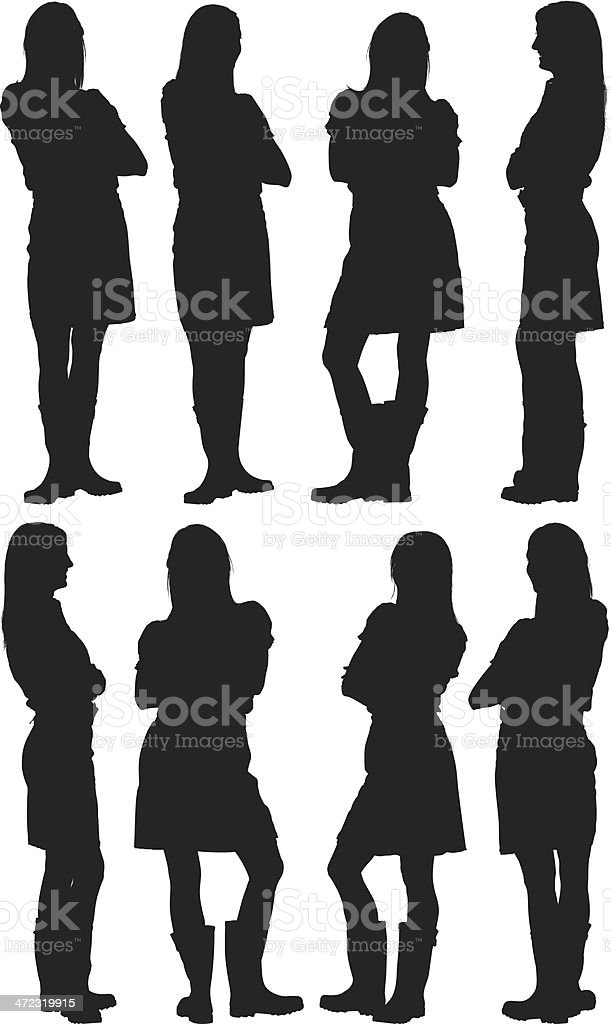 Silhouettes of woman posing with arms crossed vector art illustration