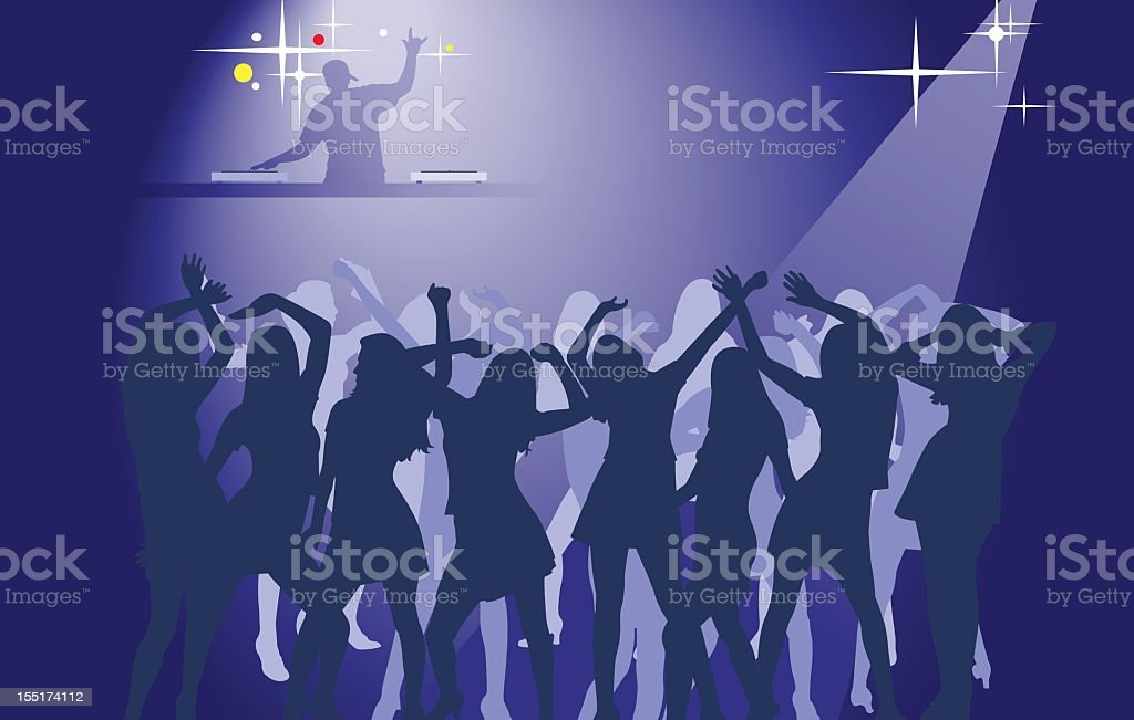 Silhouettes of women dancing at a club with DJ in background royalty-free stock vector art