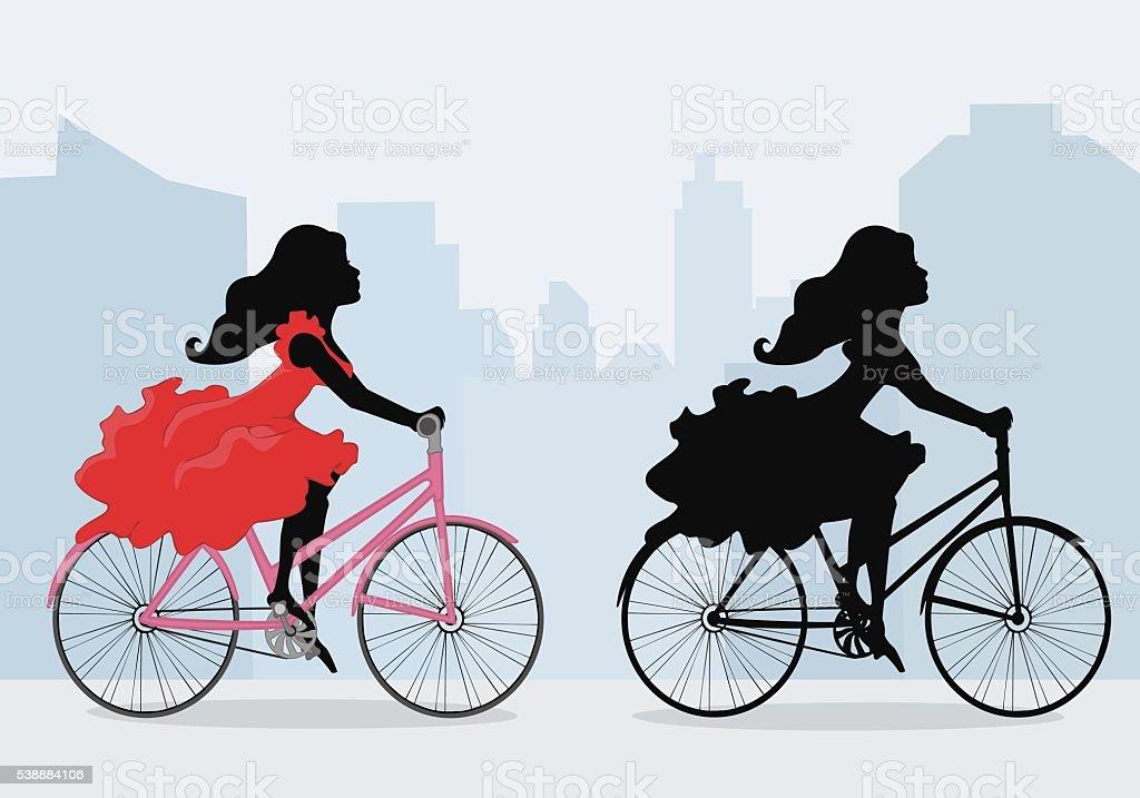 Silhouettes of  women on the bike vector art illustration