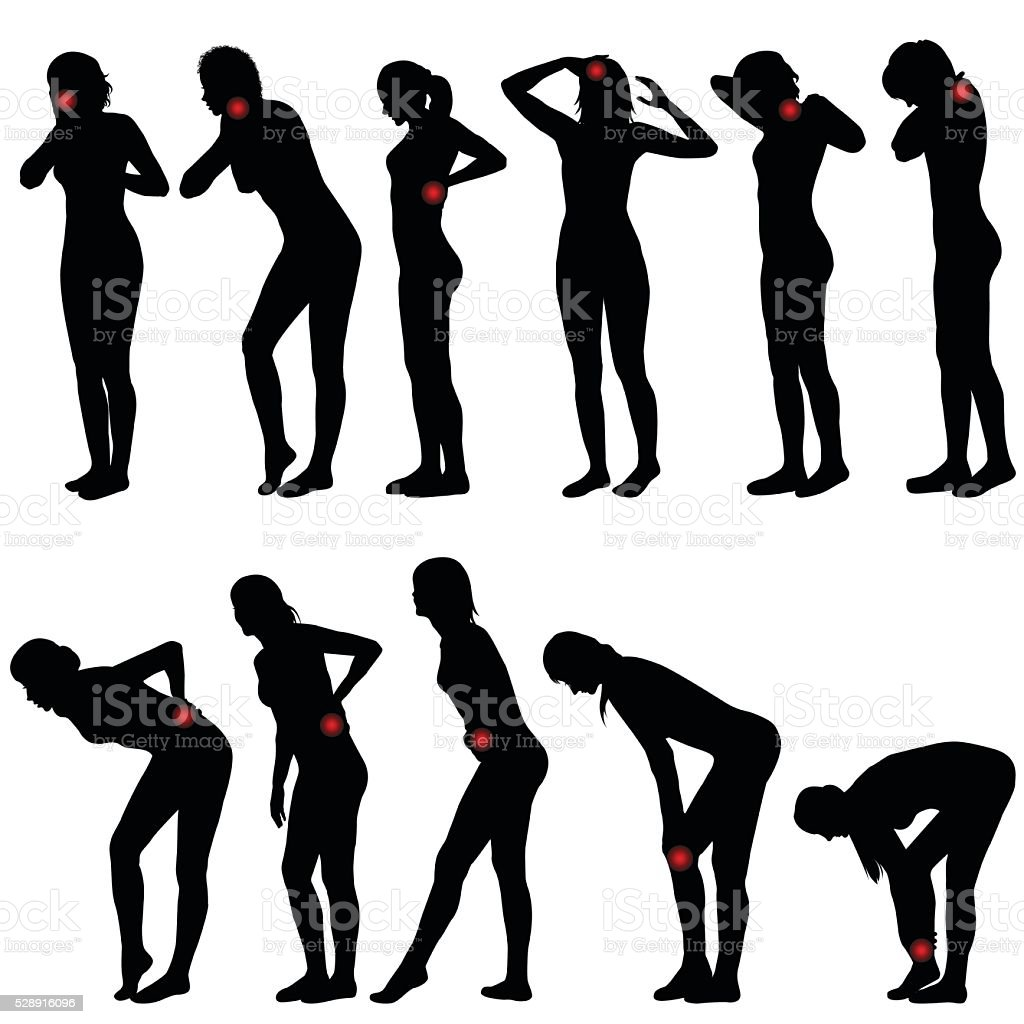 Silhouettes of women with different pain vector art illustration