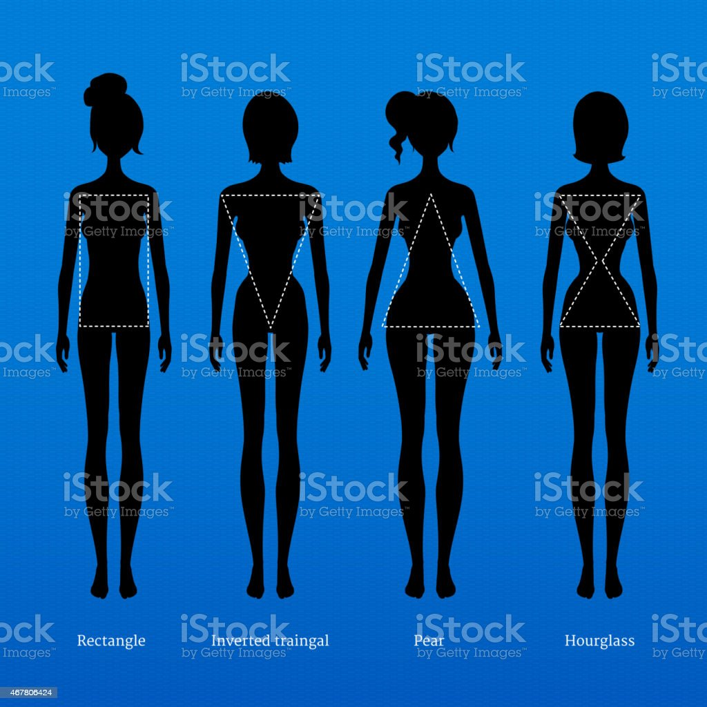 Silhouettes of women with dotted line showing figure shape  vector art illustration