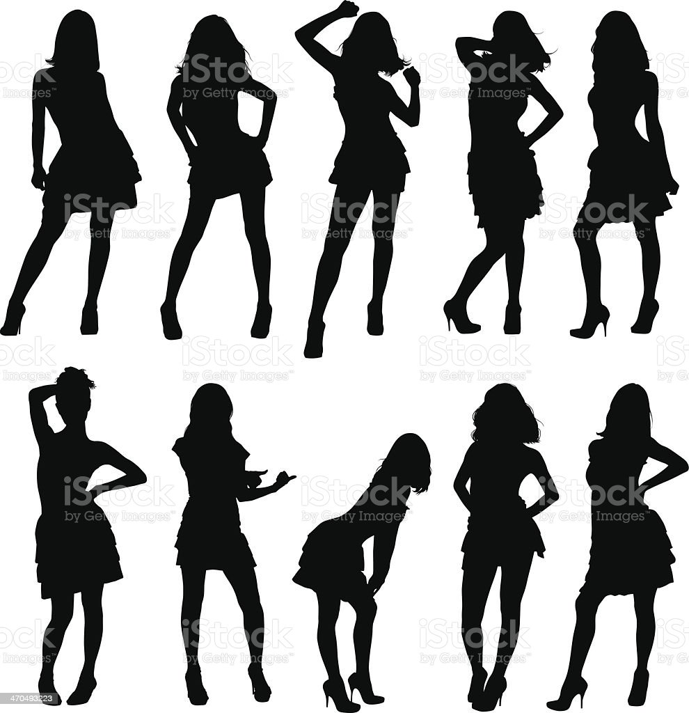silhouettes of young girls vector art illustration