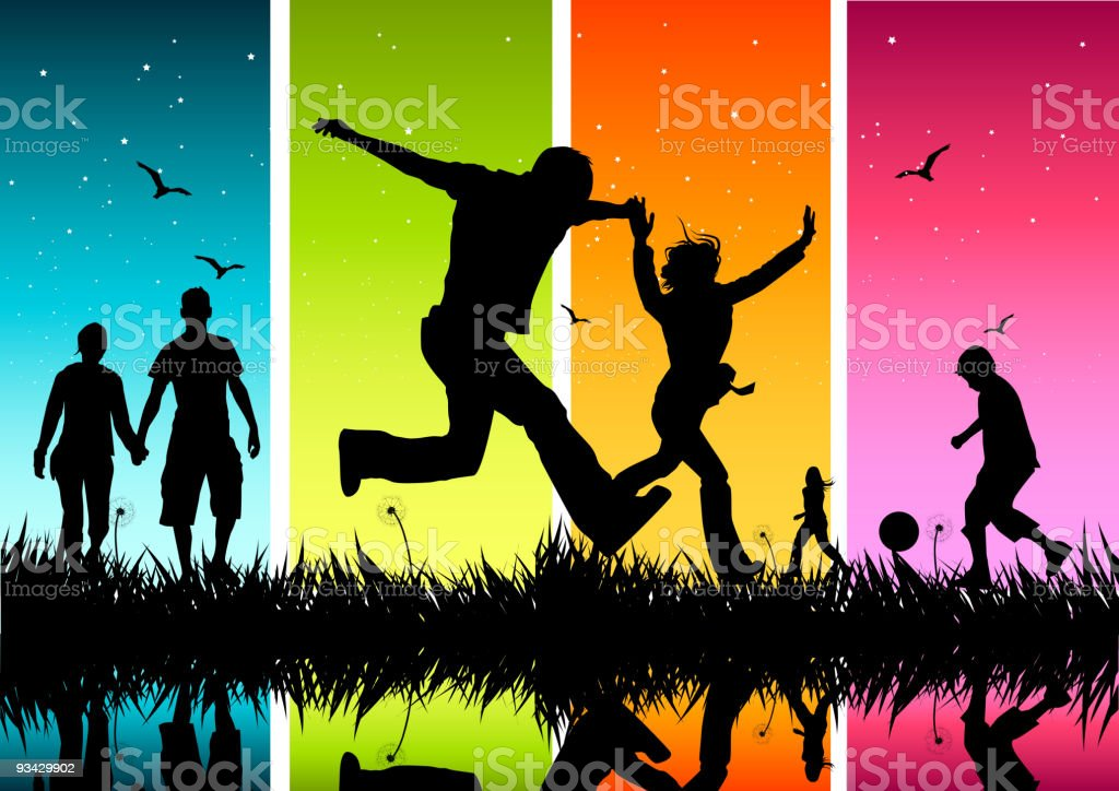 Silhouettes of young people enjoying the outdoors vector art illustration