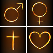 Silhouettes symbols heart, Venus, Mars and cross