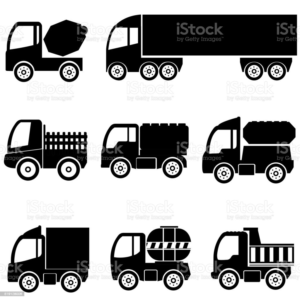 silhouettes the cargo trucks vector art illustration