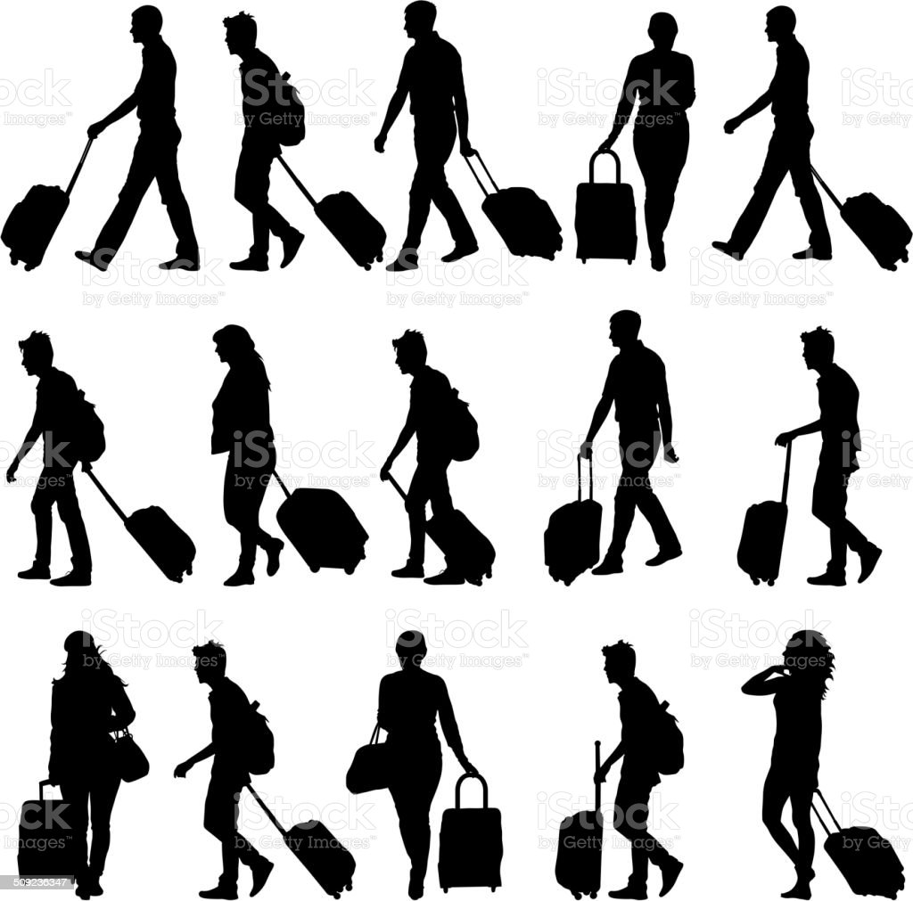 silhouettes travelers with suitcases vector art illustration