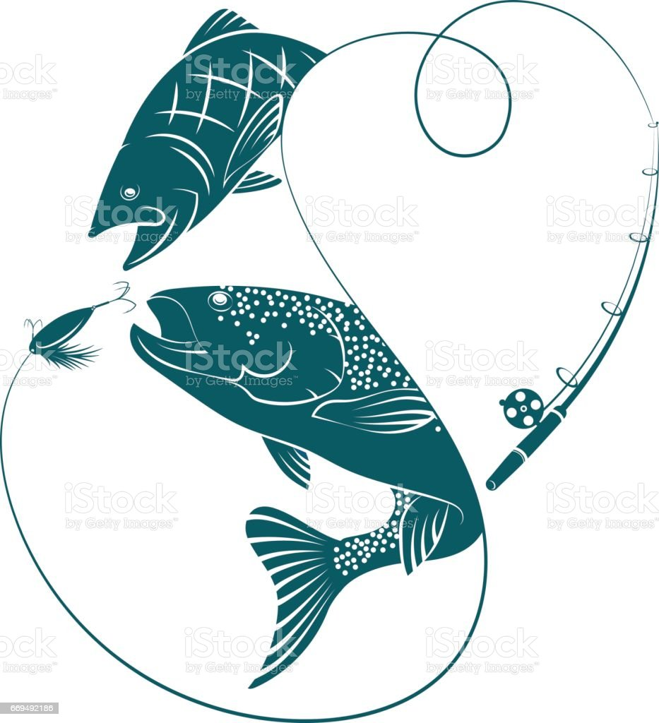 Silhouettes with fish for fishing vector art illustration