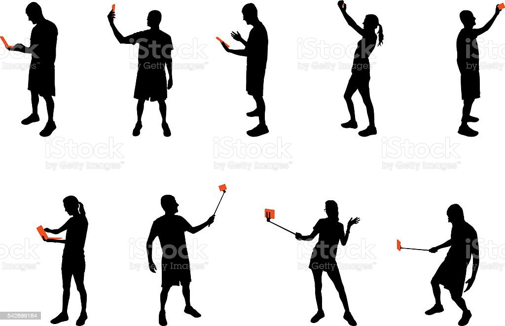 Silhouettes with mobile devices vector art illustration