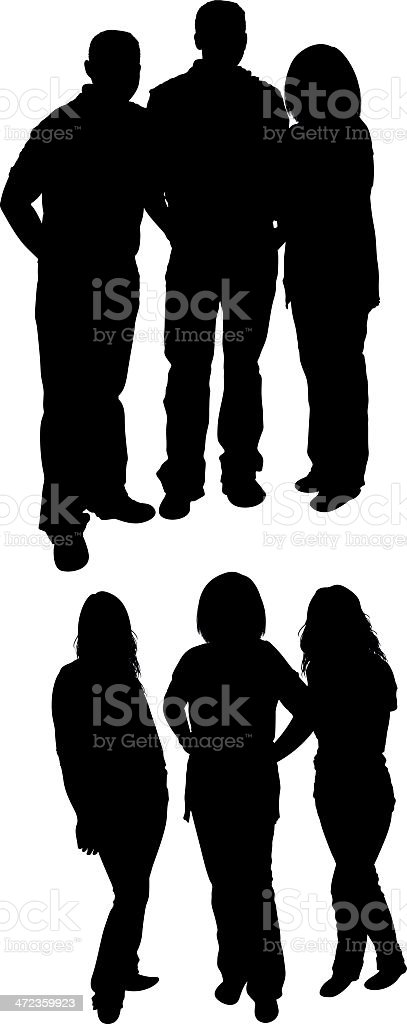 Silhoutte of friends standing royalty-free stock vector art