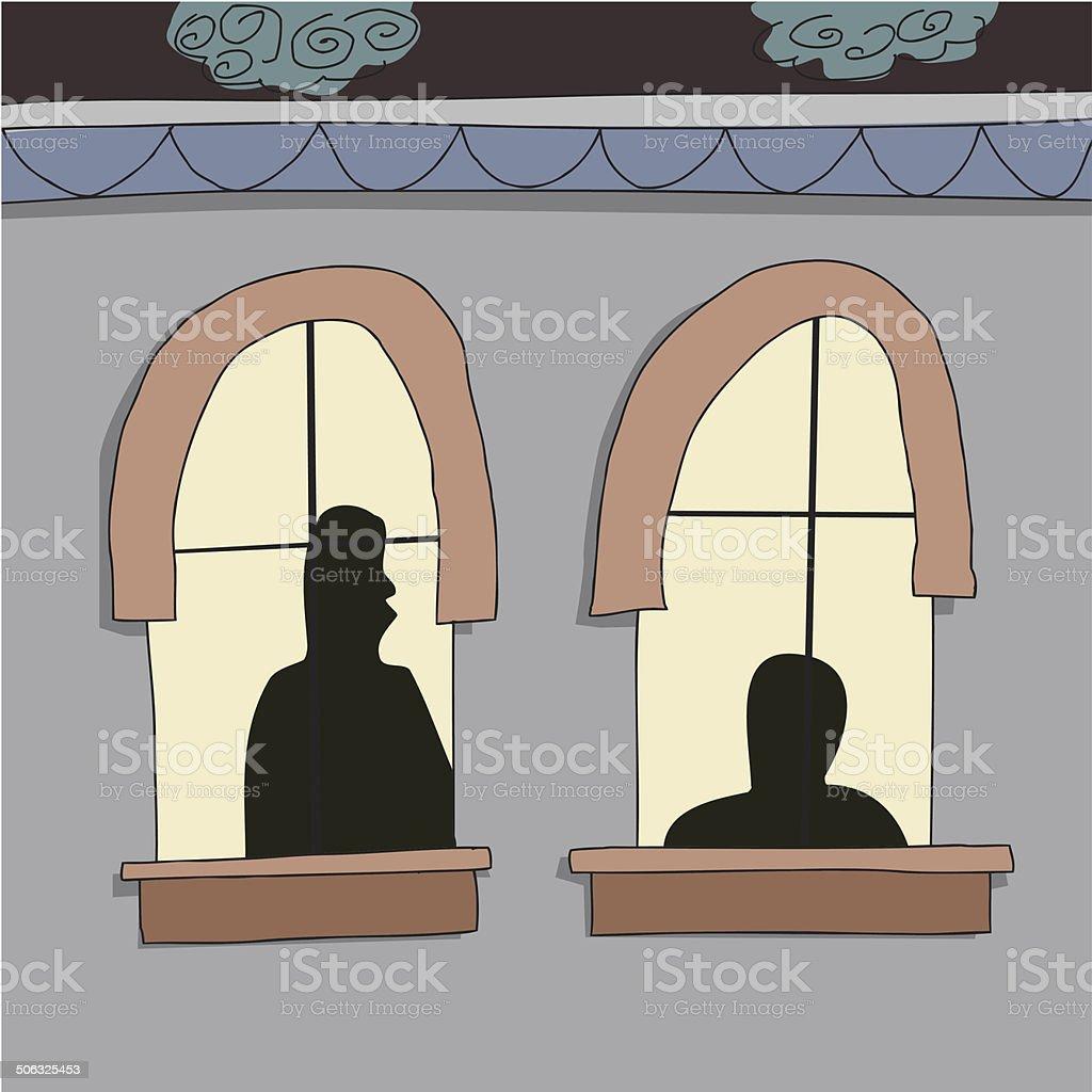 Silhoutte of People in Windows vector art illustration