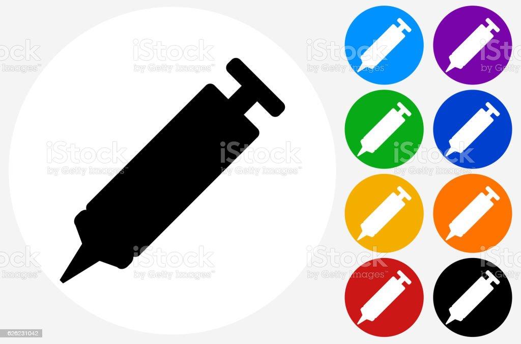 SilIcon  Glue Sealant Icon on Flat Color Circle Buttons vector art illustration