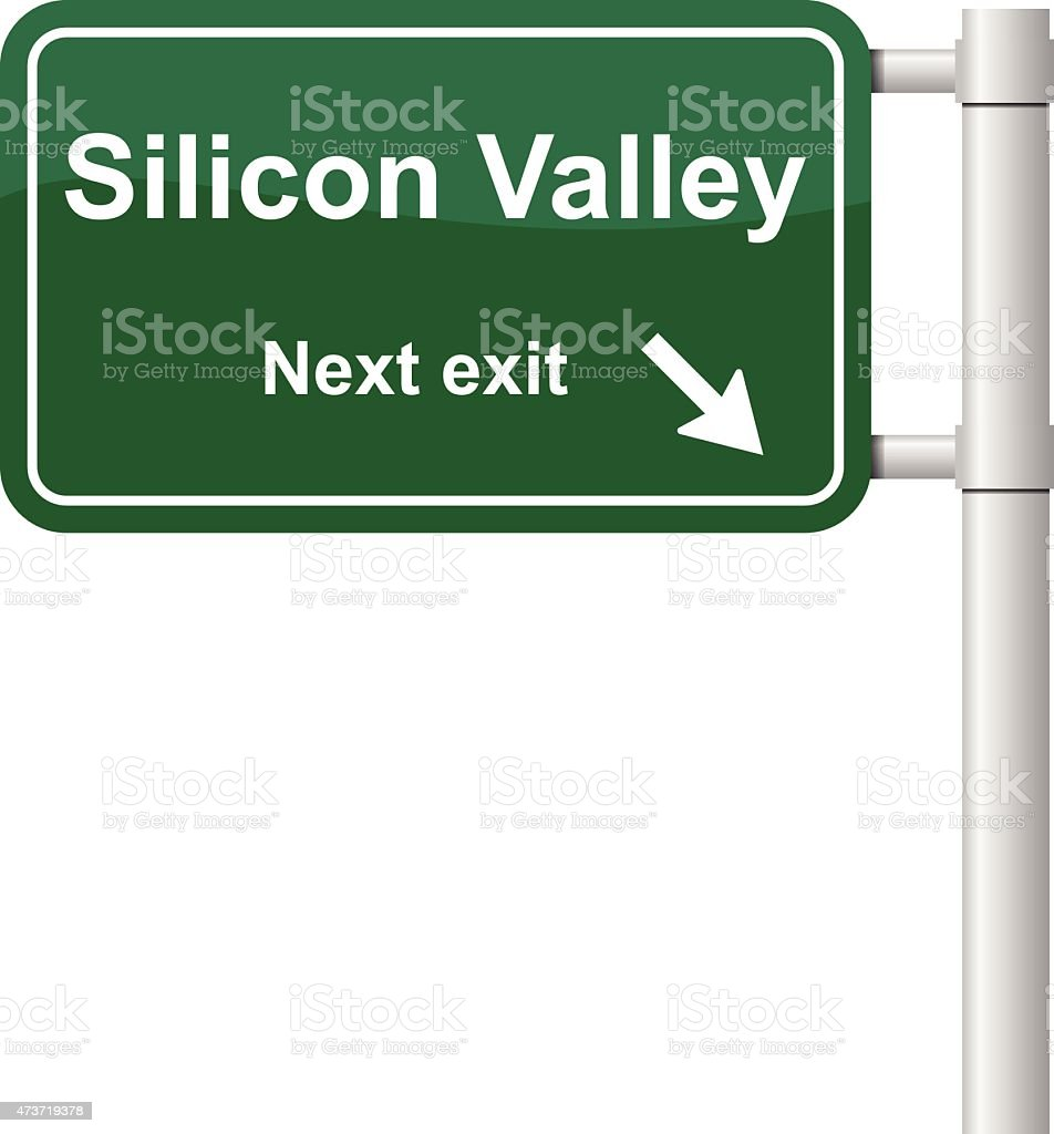 Silicon Valley next exit signal vector vector art illustration