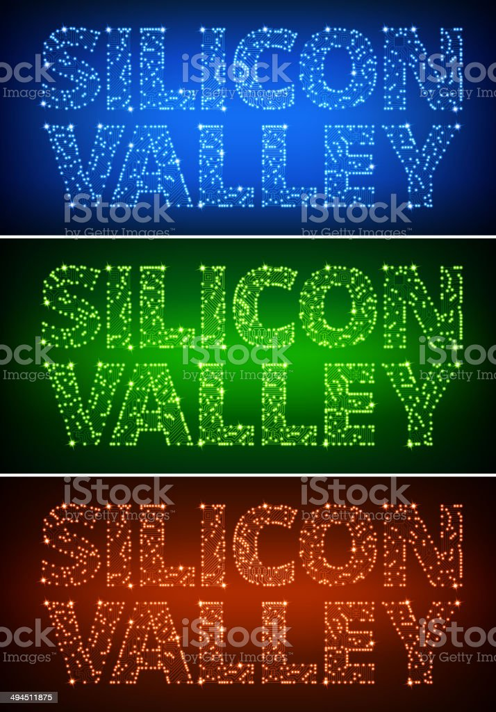 Silicon Valley on Circuit Board royalty free vector art vector art illustration