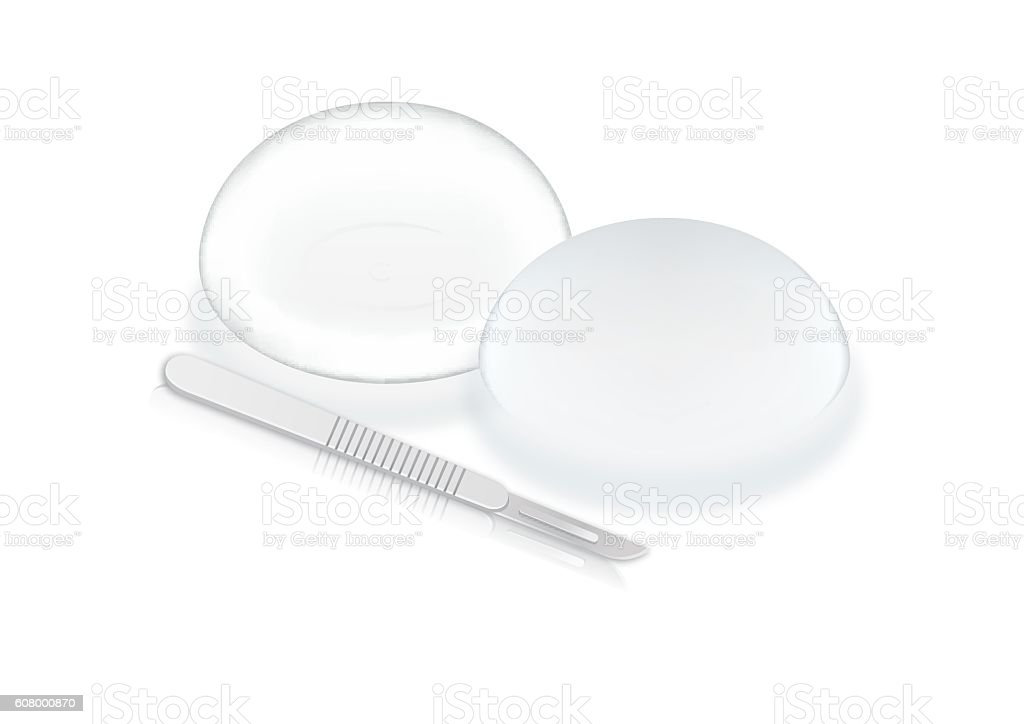 Silicone breast implants and scalpel blade. vector art illustration
