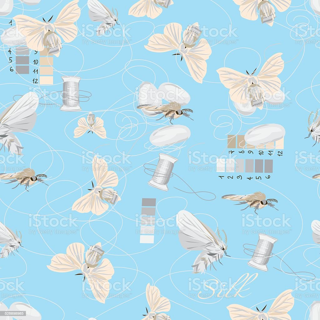 Silk cultivation cyan seamless vector pattern vector art illustration
