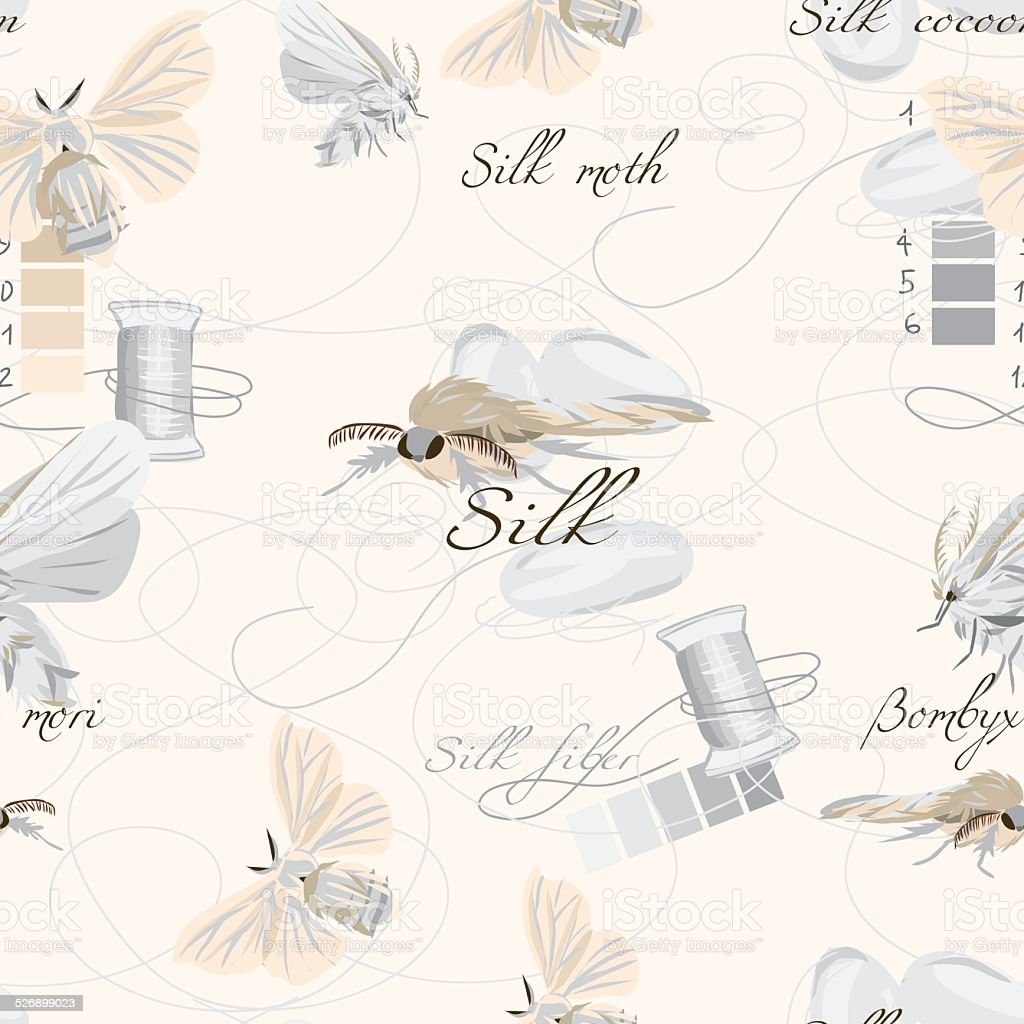 Silk cultivation white seamless vector pattern vector art illustration