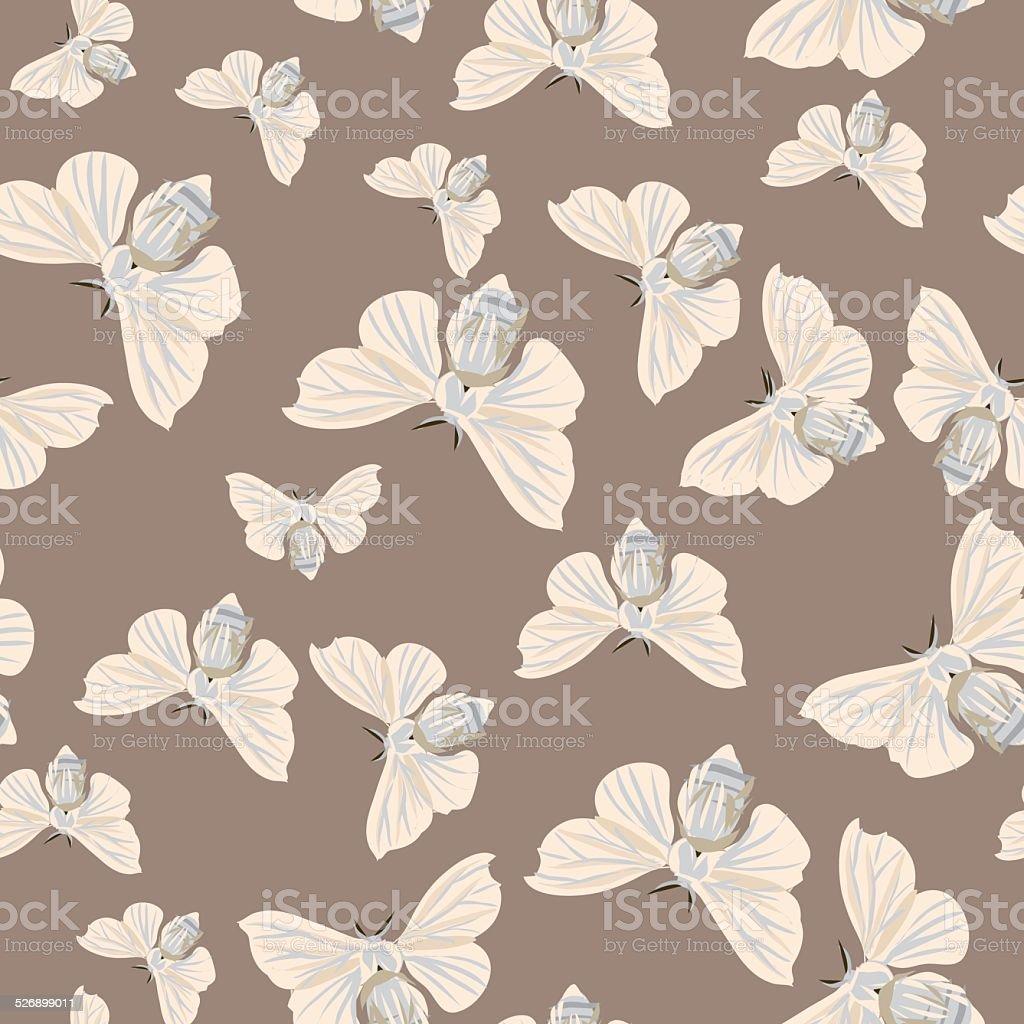 Silk moth almond seamless vector pattern vector art illustration
