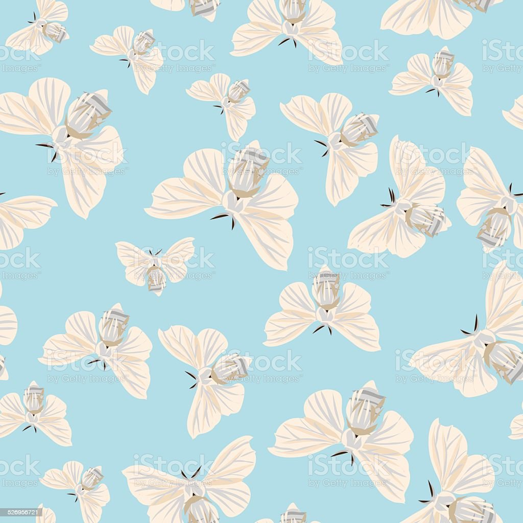 Silk moth almond seamless vector pattern vector art illustration
