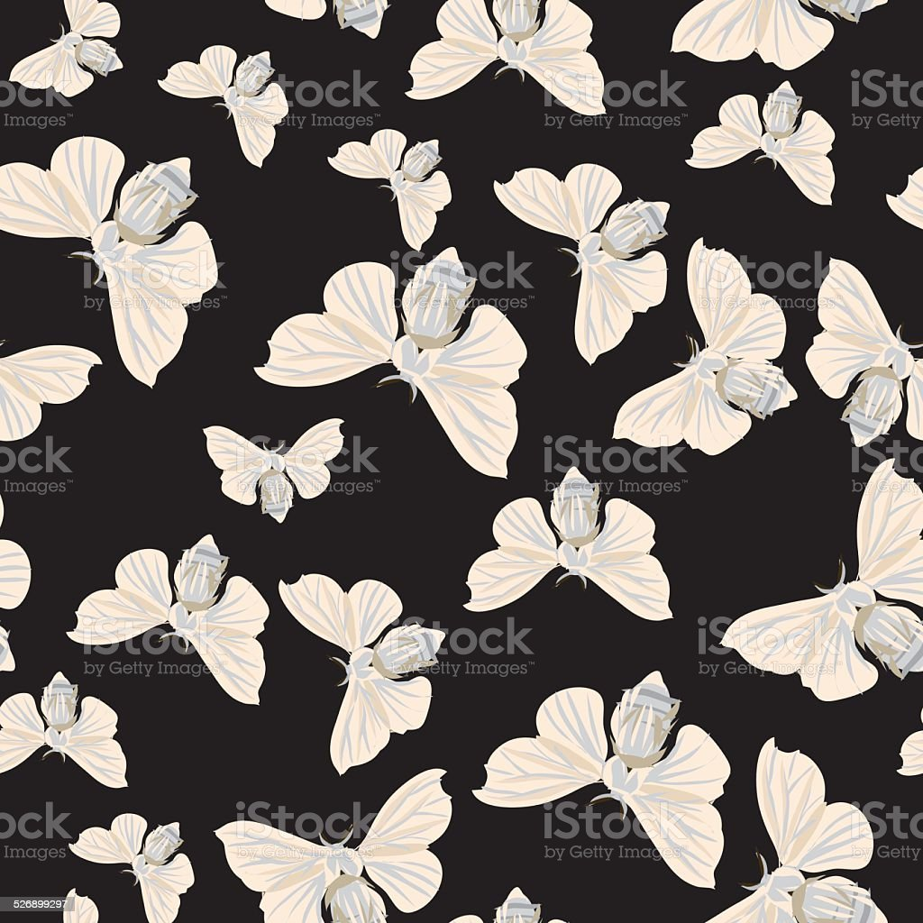 Silk moth black seamless vector pattern vector art illustration