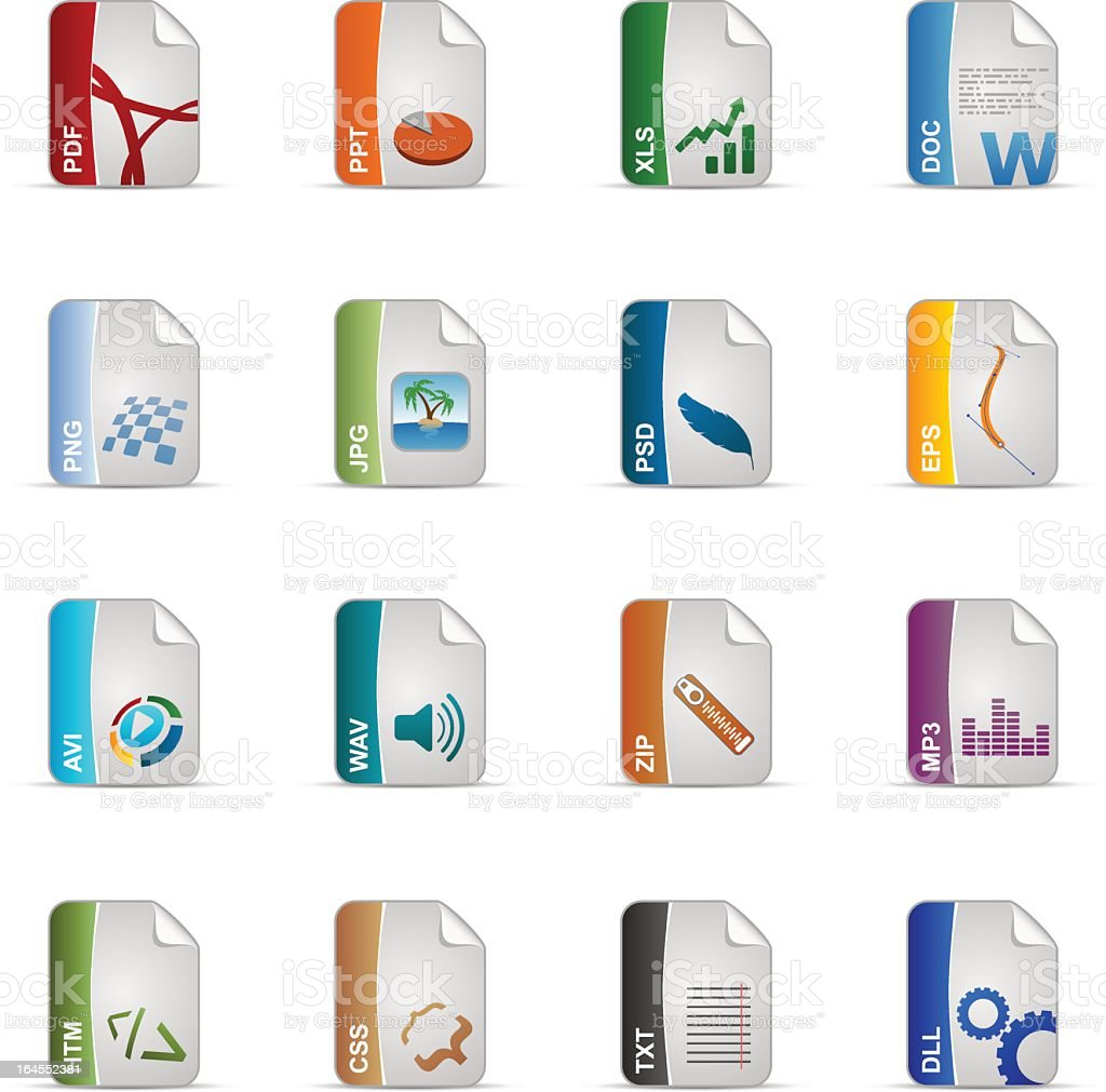 Silky Icons Set | Filetypes royalty-free stock vector art