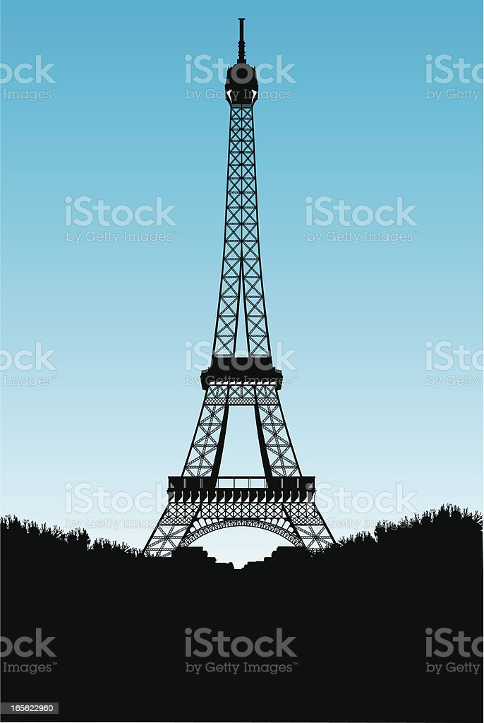 Sillhouette of Eiffel Tower royalty-free stock vector art