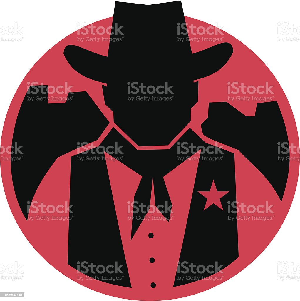 Sillouhette Cowboy Sheriff royalty-free stock vector art