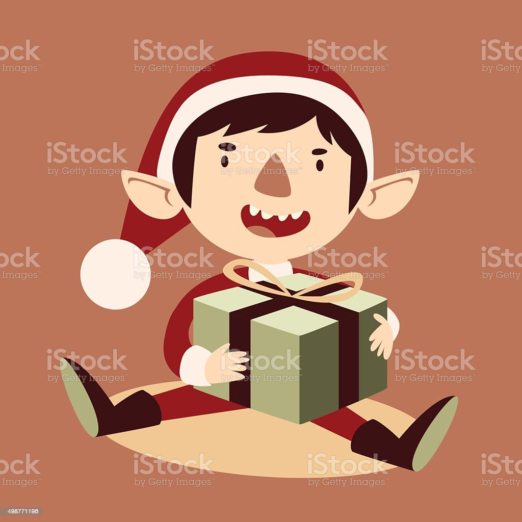 Silly Cartoon Elf Holding a Wrapped Git Box vector art illustration