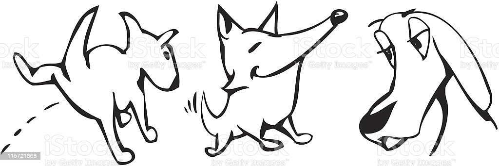 silly dogs vector art illustration