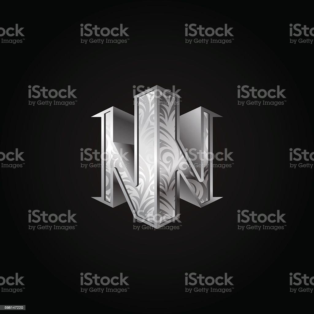 Silver 3d isometric monogram double letter N. vector art illustration