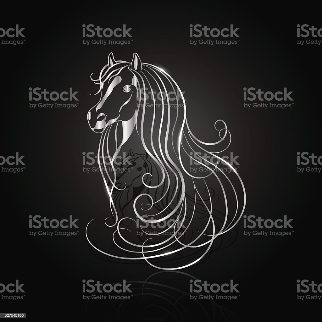 Silver abstract horse vector art illustration
