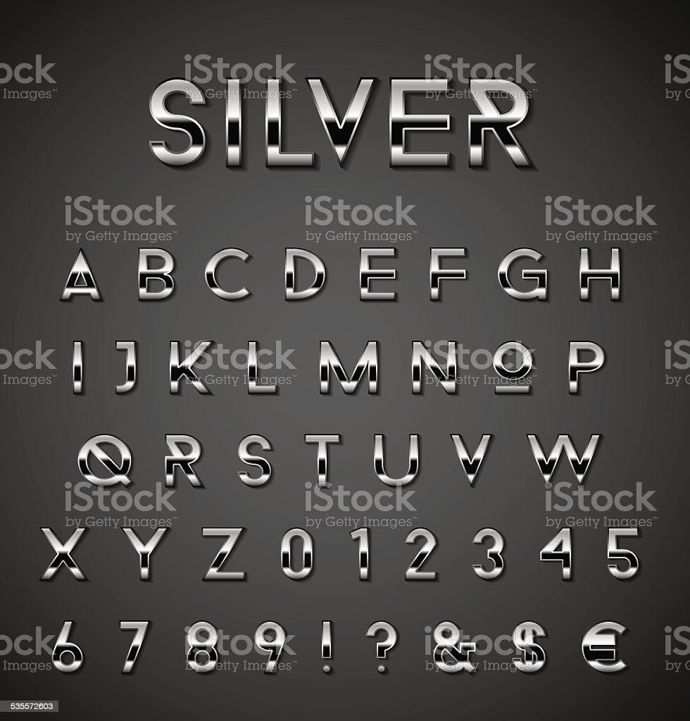 Silver alphabet set vector art illustration