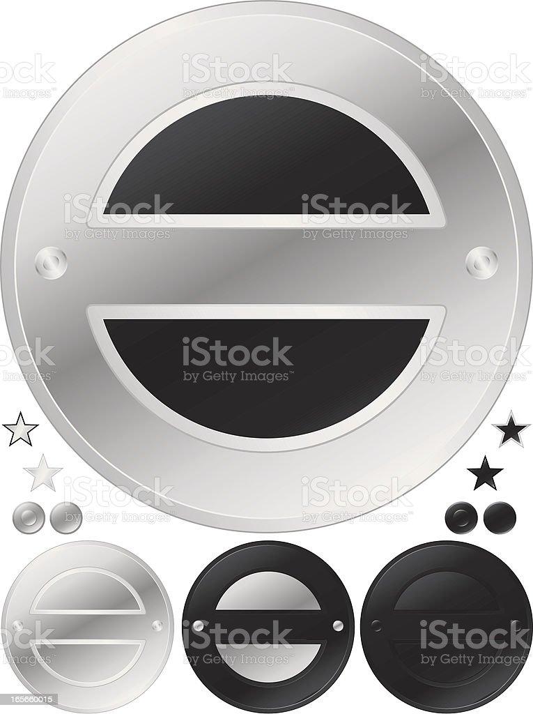 Silber und Schwarz Runde Medaillen, Aufkleber-Set Lizenzfreies vektor illustration