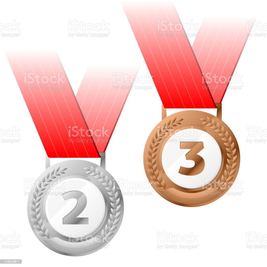 Silver and bronze medals royalty-free stock vector art