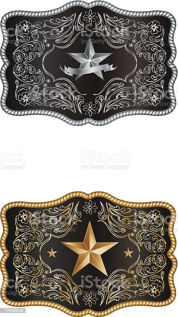 Silver and gold buckles on white vector art illustration