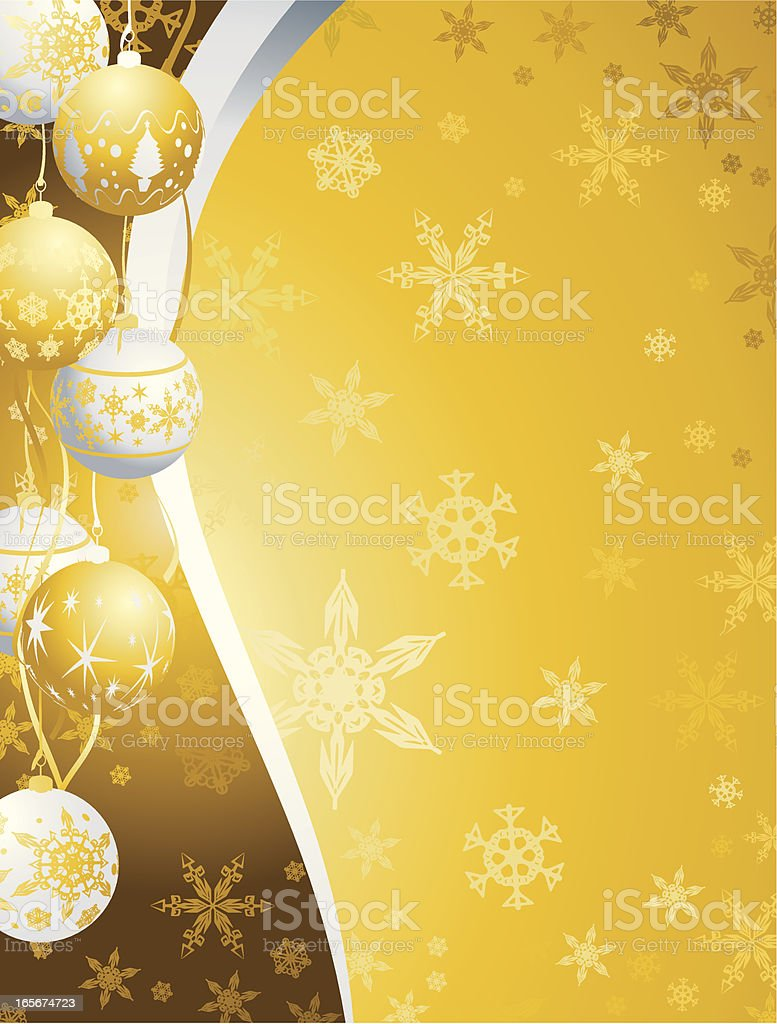 Silver and Gold Christmas Bauble snowflake swirl vertical Background royalty-free stock vector art