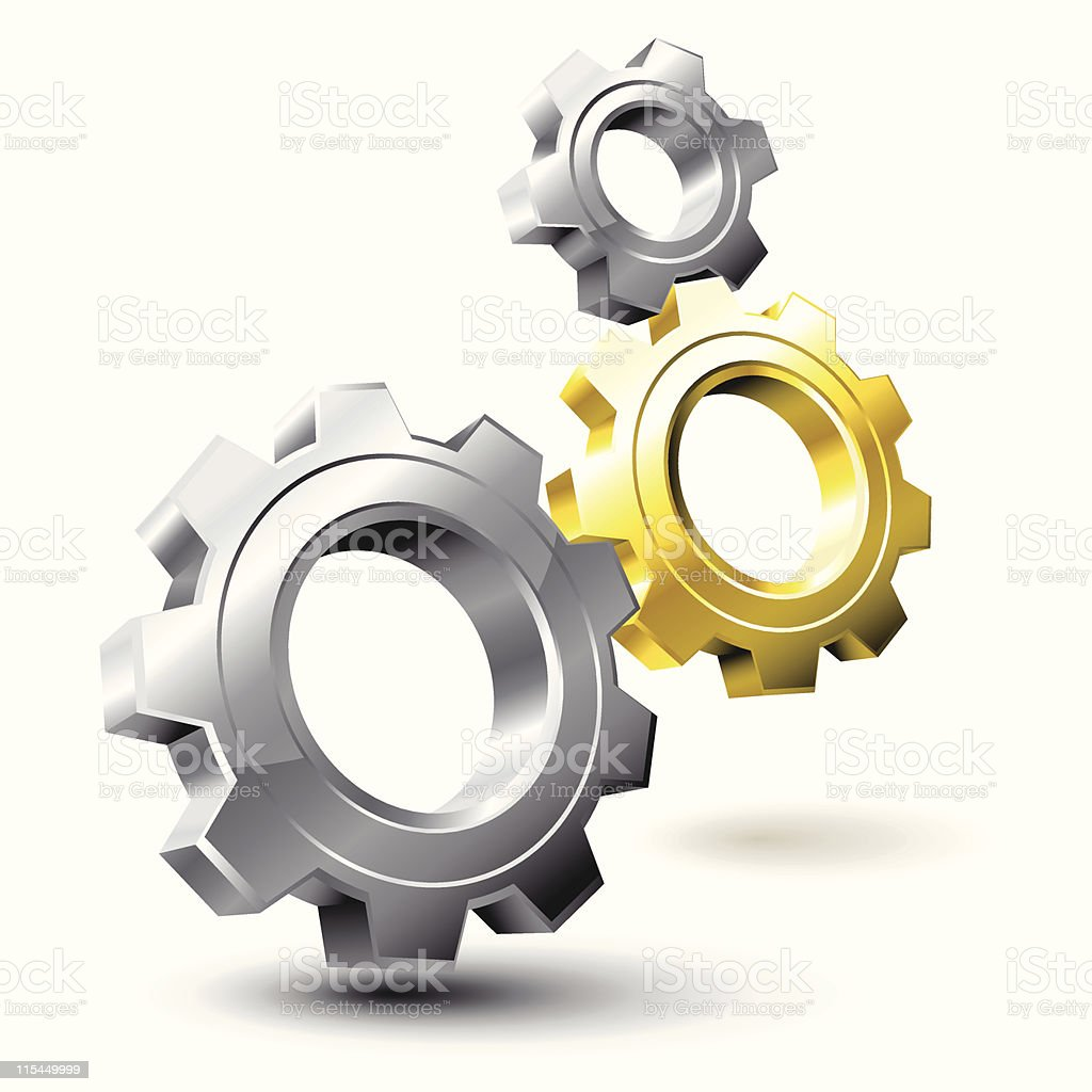 Silver and gold gears interlocking royalty-free stock vector art