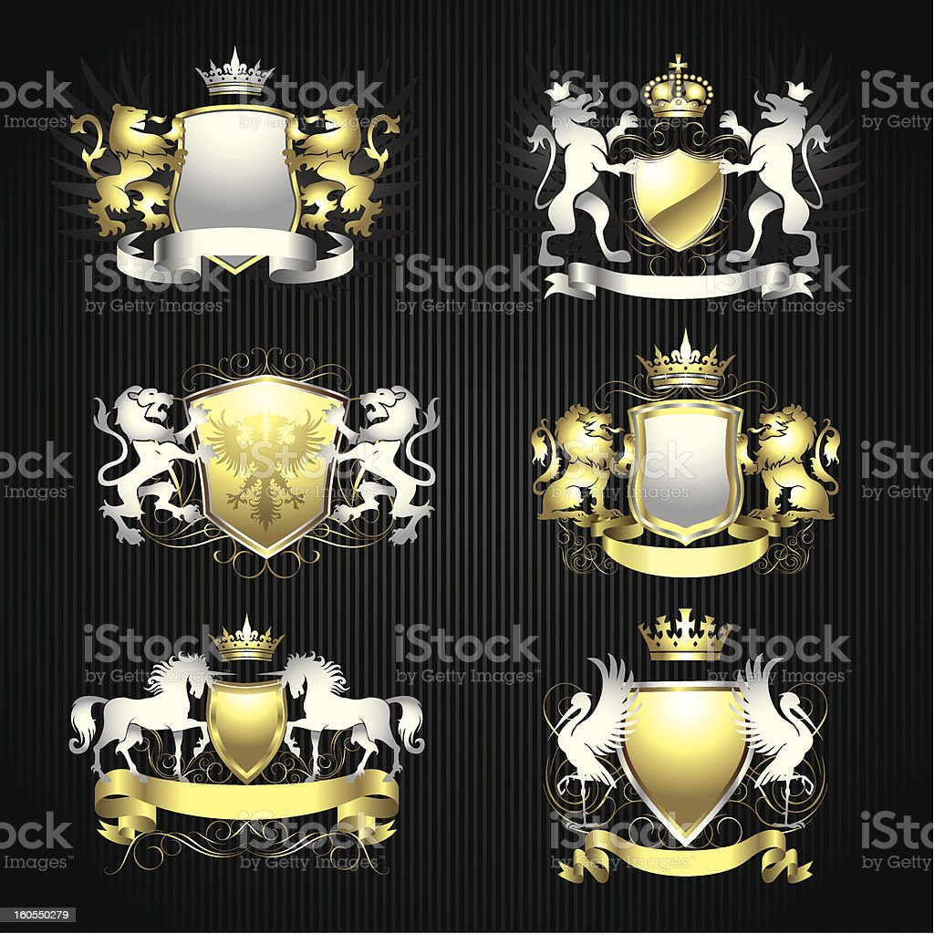 Silver and gold heraldry set royalty-free stock vector art
