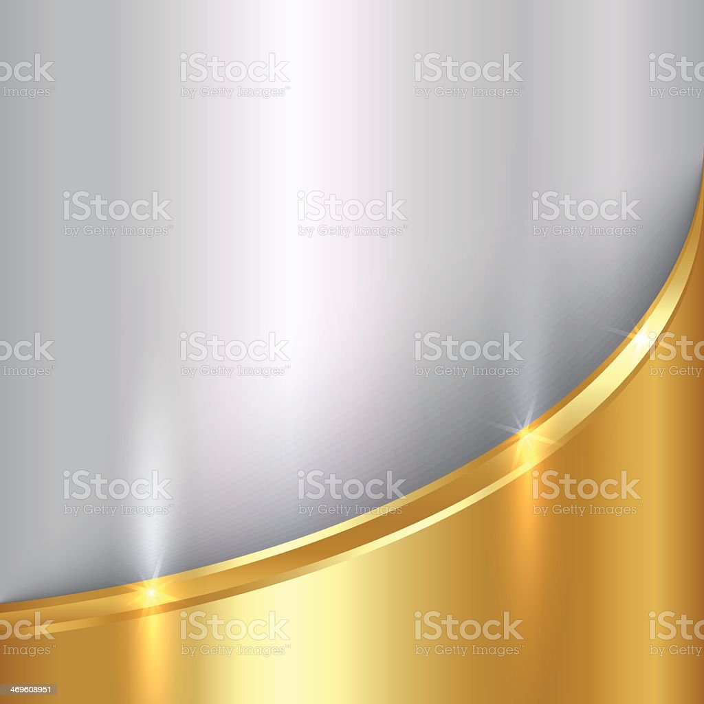 Silver and gold metal curve background vector art illustration