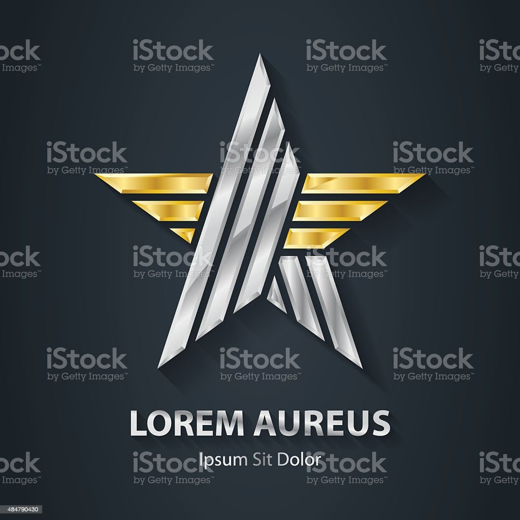 Silver and Gold star logo. Award 3d icon. Metallic logotype vector art illustration