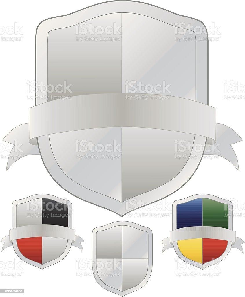Silber und mehrfarbigem Shields-Set Lizenzfreies vektor illustration