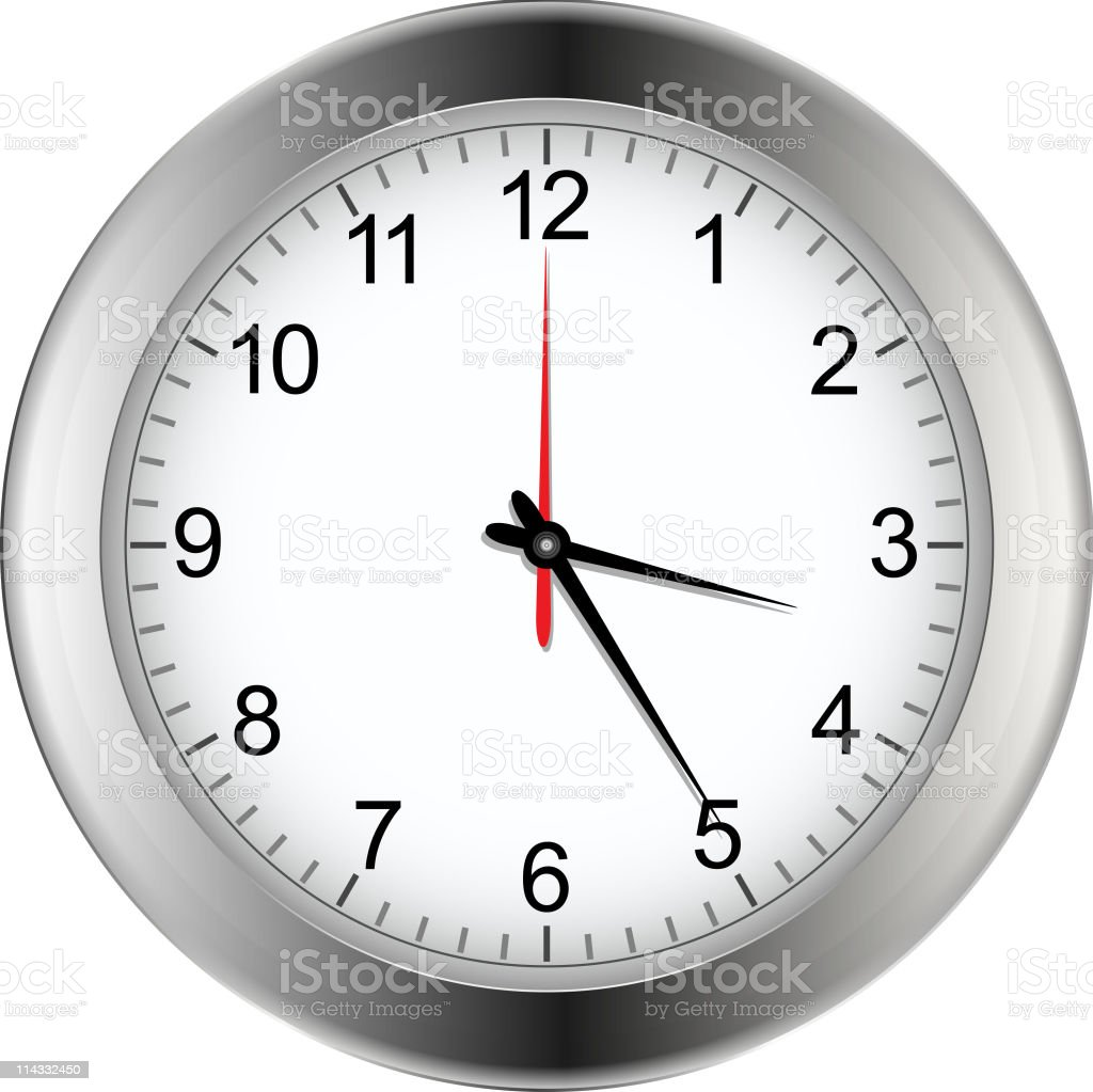 A silver and white clock at 3:25 royalty-free stock vector art