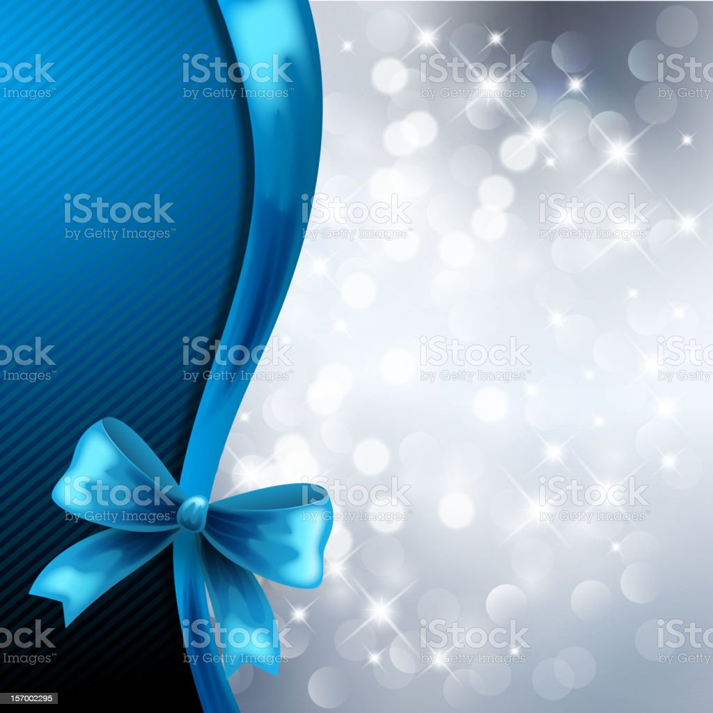 Silver background with blue bow royalty-free stock vector art