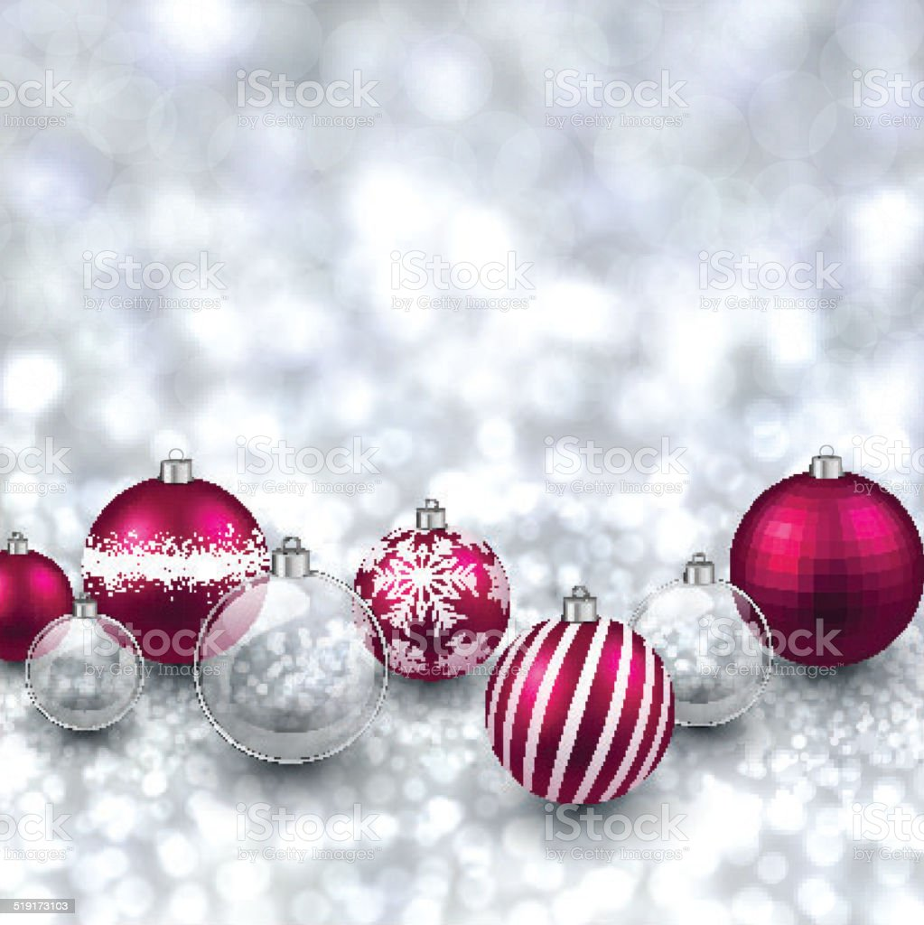 Silver background with magenta christmas balls. vector art illustration