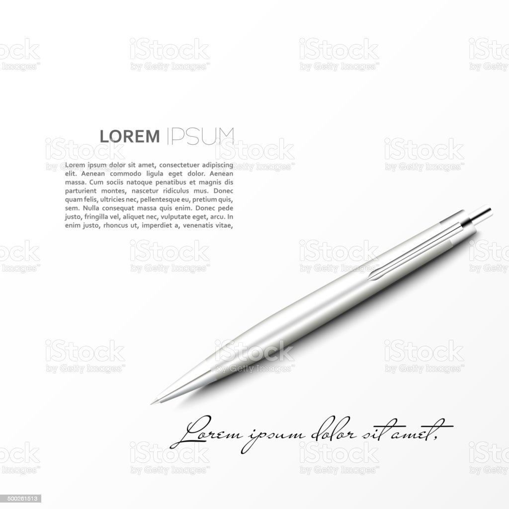 Silver Ballpoint Pen lying on the plane with shadow vector art illustration