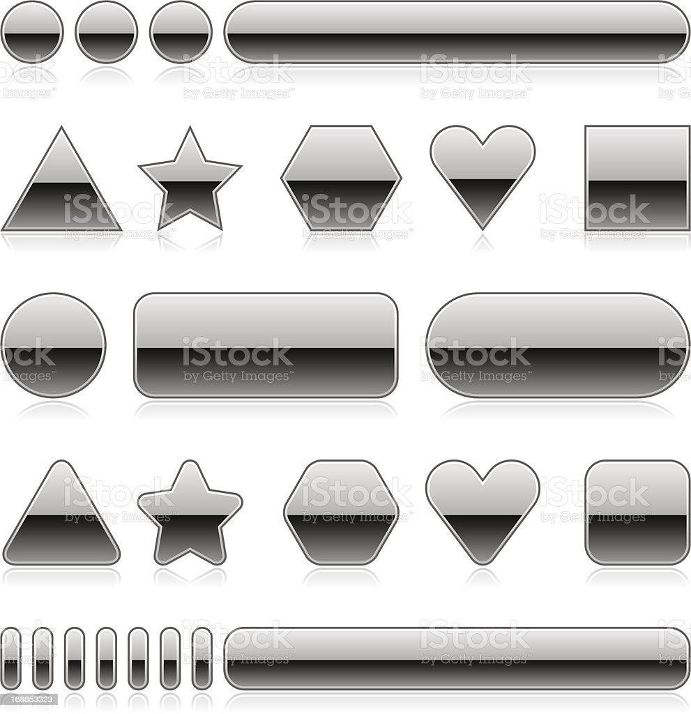 Silver blank button empty glossy icon shadow reflection royalty-free stock vector art