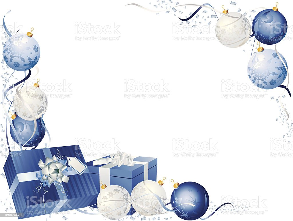 Silver Blue Christmas Present Bauble Vertical Frame royalty-free stock vector art